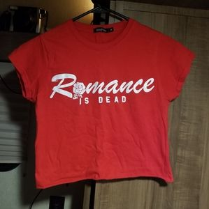 Romance is Dead Red Crop Top Boohoo Size M